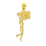 14k gold basketball player shooting ball pendant