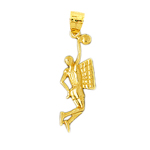 14k gold basketball player jump shot pendant