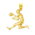14k gold dribbling basketball player pendant