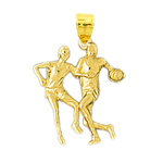 14kt gold two basketball players pendant