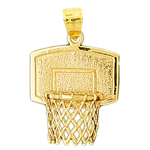 14k gold basketball backboard net pendant