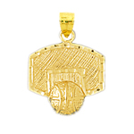 14k gold basketball backboard pendant