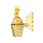 14k gold basketball in backboard net pendant