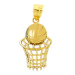 14k gold nothing but net basketball pendant