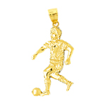 14k gold soccer player with ball pendant