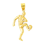 14k gold soccer ball and player pendant