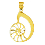 14k gold cut out mollusk sea snail shell pendant