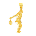 14k gold female tennis player charm pendant