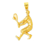 14k gold tennis player charm pendant