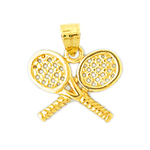14k gold double tennis racquets charm