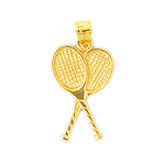 14k gold double tennis rackets charm