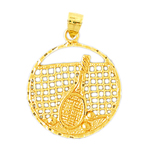 14k gold tennis racquet, net and balls medallion