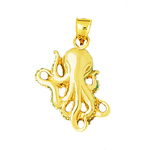 14kt gold cephalopod octopus pendant