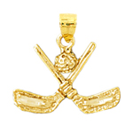 14k gold 3d golf clubs and ball charm