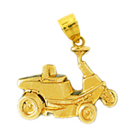 14k gold golf cart charm