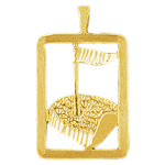 14kt gold golf putting green framed pendant