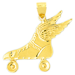 14k gold roller skate with wings charm pendant