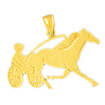 14kt gold harness racing horse pendant