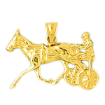 14k gold horse and chariot charm pendant