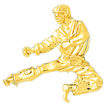 14k gold karate figure charm pendant