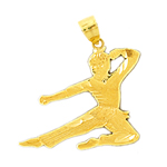 14k gold karate kid charm pendant