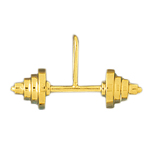 14k gold weight training barbell charm pendant