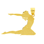 14k gold silhouette gymnast pendant