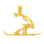 14k gold 28mm snowboarder charm pendant