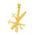 14k gold 3d snow skis and poles charm