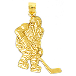 14k gold 25mm hockey player charm pendant