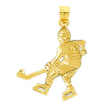 14k gold #00 jersey hockey player charm pendant