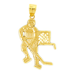 14k gold hockey charm pendant