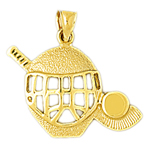 14k gold hockey mask, stick and puck charm pendant