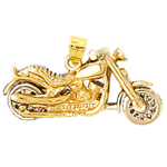 14k two tone gold 3d motorcycle pendant
