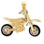 14k gold 3d moveable rubber wheels motorcycle pendant