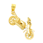 14k gold 3-d motorcycle charm