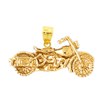 14k gold motorcycle chopper charm