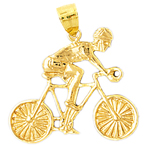 14k gold bicycle and rider charm pendant