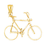 14k gold 3d 10-speed bicycle charm pendant