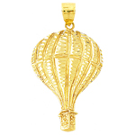 14k gold 36mm hot air balloon charm pendant