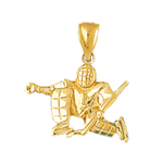14k gold 3d hockey goalie charm pendant