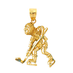 14k gold 3d hockey player charm pendant