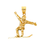 14k gold 3d snowboarder charm