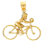 14k gold 3d bike charm pendant