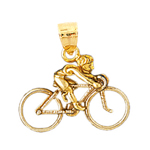 14k gold 3d bicycle charm