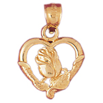 14k gold rose in heart charm