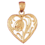 14k gold rose in heart pendant