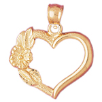 14k gold designer heart with rose pendant
