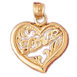 14k gold love designer in heart charm