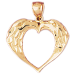 14k gold two eagles heart designer pendant